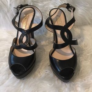 Prada black open toe strappy heels size 36